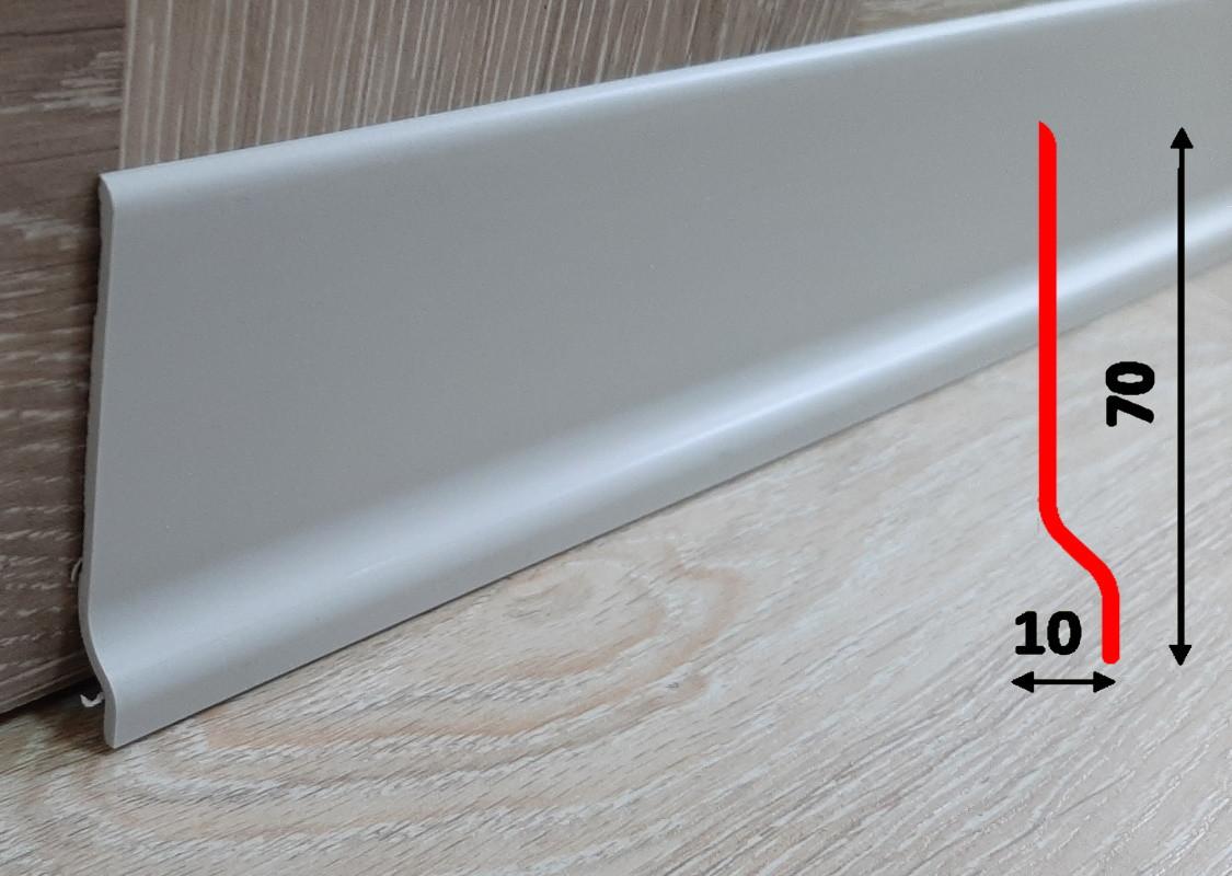 Гибкий напольный плинтус 70 мм, 2,0 м, Светло-серый