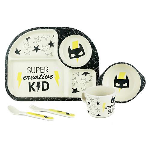 """Посуда детская """"Бэтмен"""", бамбуковая, 5 предметов, MH-2773-1"""