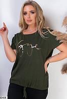 Футболка женская летняя хлопок размер 48-54 универсальный Турция,цвет хаки