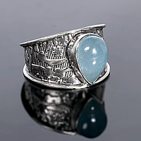 Серебряное кольцо с аквамарином, 11*7 мм., 1364КА, фото 1