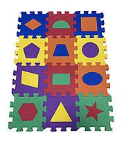 Коврик-пазл EVA, «Веселая геометрия» набор 12 шт. 0,22 м2, 13,5х13,5 см, т. 8-10 мм ч. 100 кг / м3