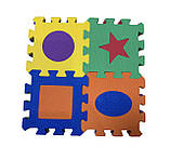 Коврик-пазл EVA , «Весела геометрія» набір 12 шт. 0,22 м2, 13,5х13,5 см, т. 8-10 мм  щ. 100 кг/м3, TERMOIZOL®, фото 2