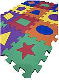 Коврик-пазл EVA , «Весела геометрія» набір 12 шт. 0,22 м2, 13,5х13,5 см, т. 8-10 мм  щ. 100 кг/м3, TERMOIZOL®, фото 5