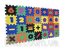 Коврик-пазл EVA, «Математика + геометрия» н, 28 шт. 0,51 м2, 13,5х13,5 см, т. 8-10 мм ч. 100 кг / м3, TERMOIZO