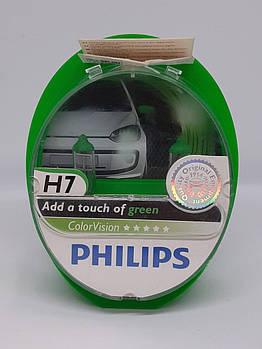 Галогенная лампа H7 Philips ColorVision зеленый