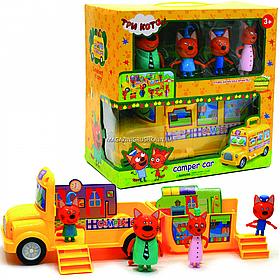 Ігровий набір «Три кота. Будиночок для пікніка» (автобус, 4 фігурки) M-8805
