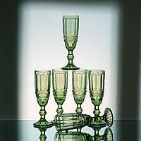 Фужеры, бокалы, стаканы из цветного стекла.