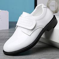 Шкіряне взуття для хлопчика, шкіряні білі туфлі / кожаные ботинки белые Британский стиль,весной и осенью 30, білий