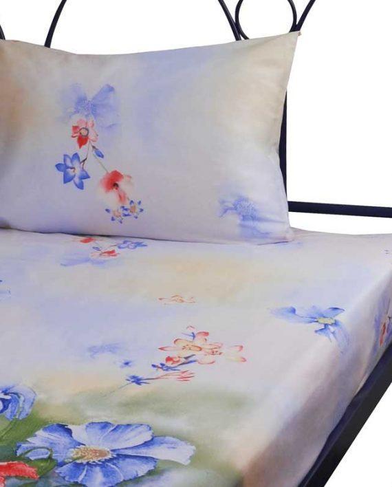 Набор простынь Руно Евро 143*215 см + 2 наволочки 50*70 см сатин арт.22.137_Summer flowers