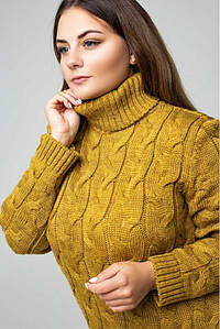 "Вязаное платье ""Ангелина""- горчица - Size+"