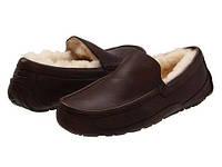 Мужские зимние мокасины  UGG Ascot Leather коричневые