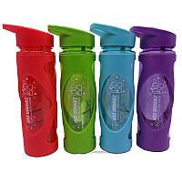 """Бутылка для воды с трубочкой """"Zannuo cup"""" в силиконовом чехле 580мл 7256"""