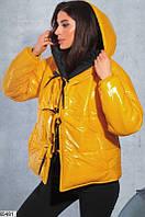 Куртка женская двусторонняя зимняя теплая плащевка/холлофайбер 42-46р.,цвет черный/желтый