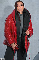 Куртка женская двусторонняя зимняя теплая плащевка/холлофайбер 48-58 р.,цвет черный/красный