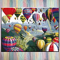 """Живопись по номерам ТМ """"Идейка"""", Пейзаж """"Воздушные шары"""" 40*50 см, без коробки, на подрамнике"""