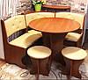 Компактный кухонный уголок Боярин с круглым столом и табуретами, фото 10