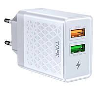 Оригінальний зарядний блок живлення TOPK на 2 USB швидка зарядка Quick Charge 3.0 Білий