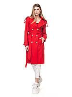 Женский двубортный тренч плащ Сандра классический 44-50 размеры красный