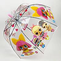 """Детский зонт-трость, полуавтомат """"LOL / ЛОЛ"""" от Paolo Rosi, с розовой ручкой, 075-1"""
