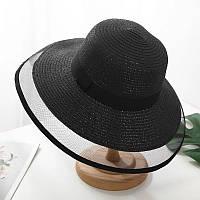 Женская ретро шляпка Одри Хепберн черная с черной ленточкой и сеточкой, фото 1