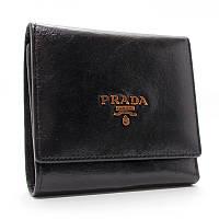 Кошелек женский на кнопке кожаный, карты черный Prada 4322, фото 1