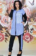 Костюм двойка стильный брючный женский весна-лето повседневного стиля двунитка/стразы/турецкий плотный джинс 44-54 р.,цвет черный