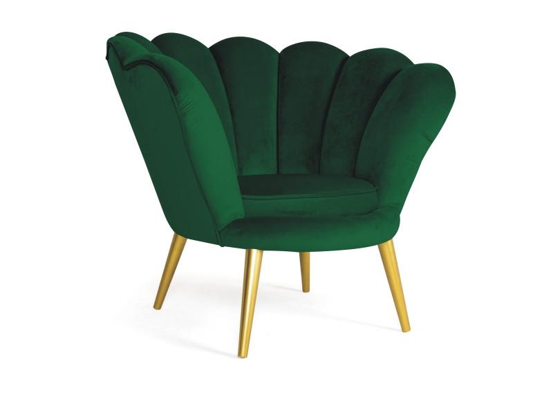 Кресло Magnolia Velvet SIGNAL Bluvel 78 - зеленый/золото