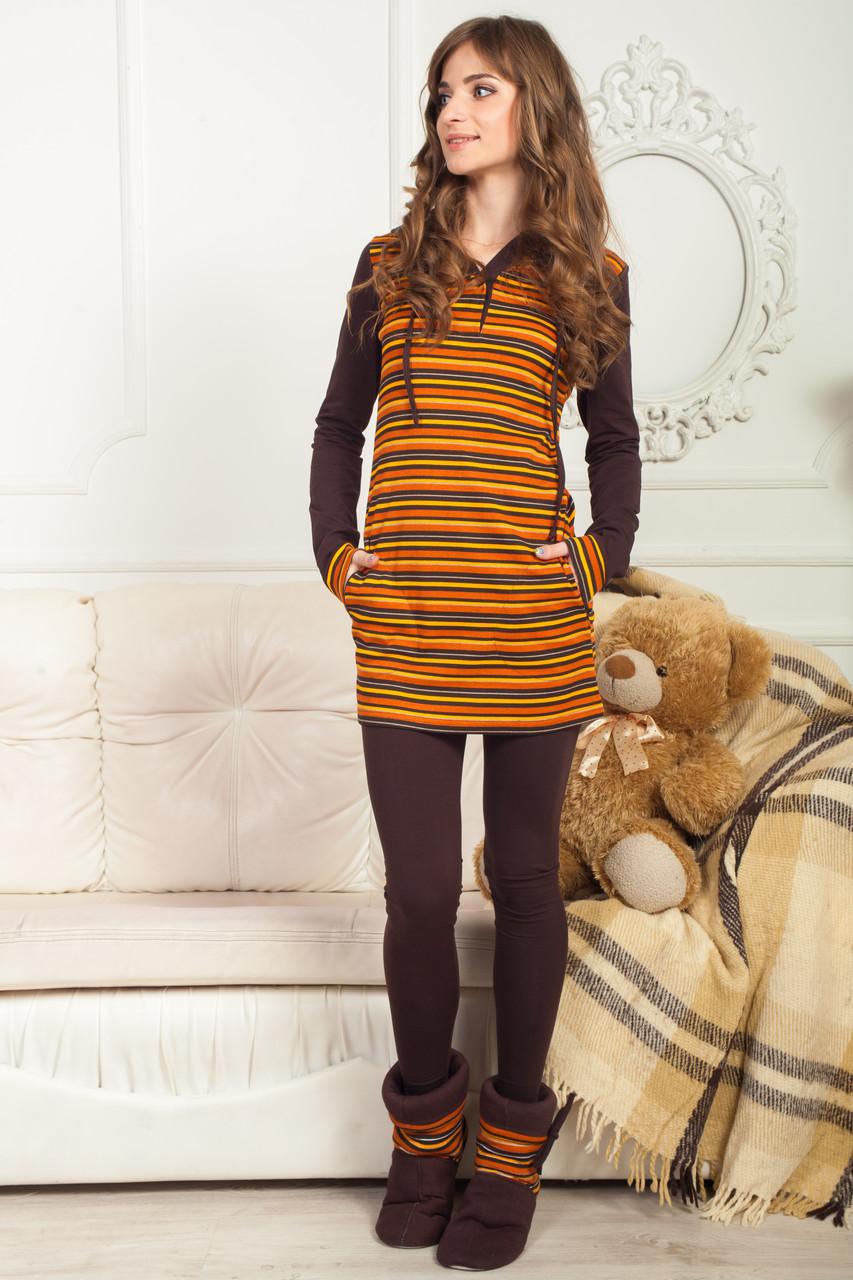 Жіночий трикотажний костюм для будинку двійка коричневий Bono