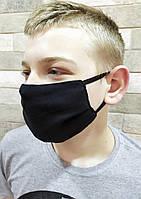 Защитная тканевая маска черная с карманом для дополнительного фильтра трехслойная