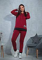 Женский  батальный спортивный костюм  турецкая двух нитка - высокого качества  графит +черный, вишня +черный