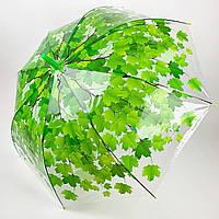 Прозрачный зонт-трость c куполом грибком и кленовыми листьями, Paolo Rossi, зеленый, 3468-1