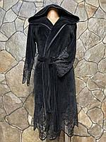 Халат женский велюровый (натуральный), S, Nusa