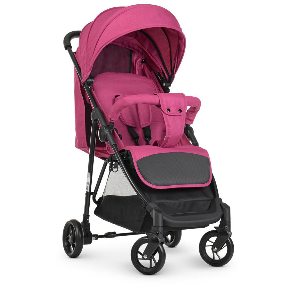 Коляска детская «Bambi» M 4249 Pink, прогулочная, книжка,корзина, чехол, розовая