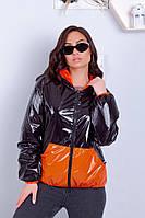 Двухсторонняя ветровка женская большого размера оранжевый с черным