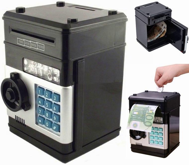 Электронная копилка сейф на кодовом замке с купюроприемником для бумажных денег и монет