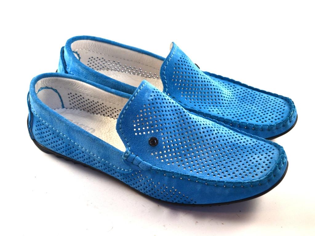 Блакитні мокасини чоловічі замшеві літнє взуття з перфорацією Rosso Avangard SE Alberto Blu Perf