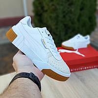 Женские кроссовки в стиле Pуma Cali Bold белые с бежевым, фото 1