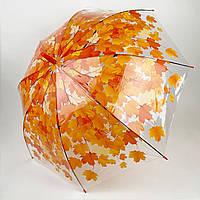 Прозрачный зонт-трость c куполом грибком и кленовыми листьями, Paolo Rossi, оранжевый, 3468-3