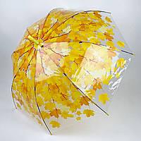 Прозрачный зонт-трость c куполом грибком и кленовыми листьями, Paolo Rossi, желтый, 3468-4