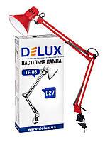 Настольная лампа DELUX TF-06 NEW E27 на струбцине красная