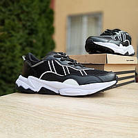Кроссовки мужские в стиле  Adidas Ozweego  черные на белой, фото 1