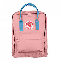 Городской Рюкзак Fjallraven Kanken 16л Classic Розовый c голубой ручкой