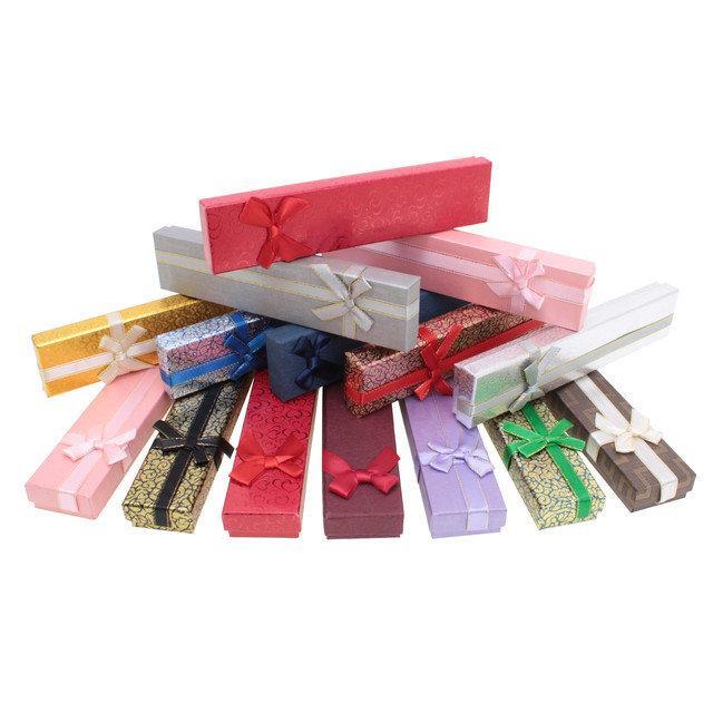Картонные коробки 200*45*23 мм, со съемной крышкой, с бантиком, разные цвета
