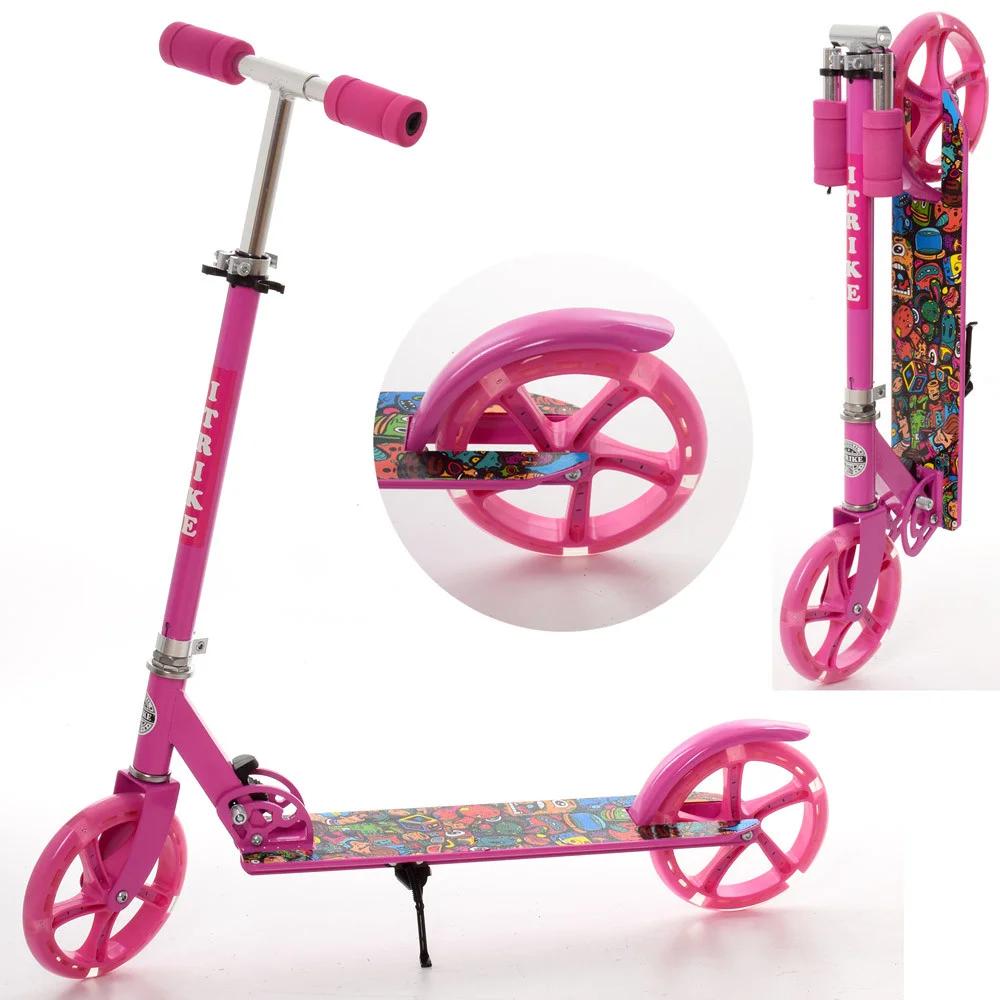 Детский двухколесный складной самокат iTrike SR 2-010-1-P-L , колеса PU -20 см, розовый