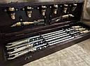 """Подарочный набор для шашлыка """"Царский улов"""" (шампура, рюмки, нож, вилка), в буковом кейсе, фото 4"""