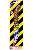 Деревянный  раскладной нож Флип в раскраске мраморный градиент