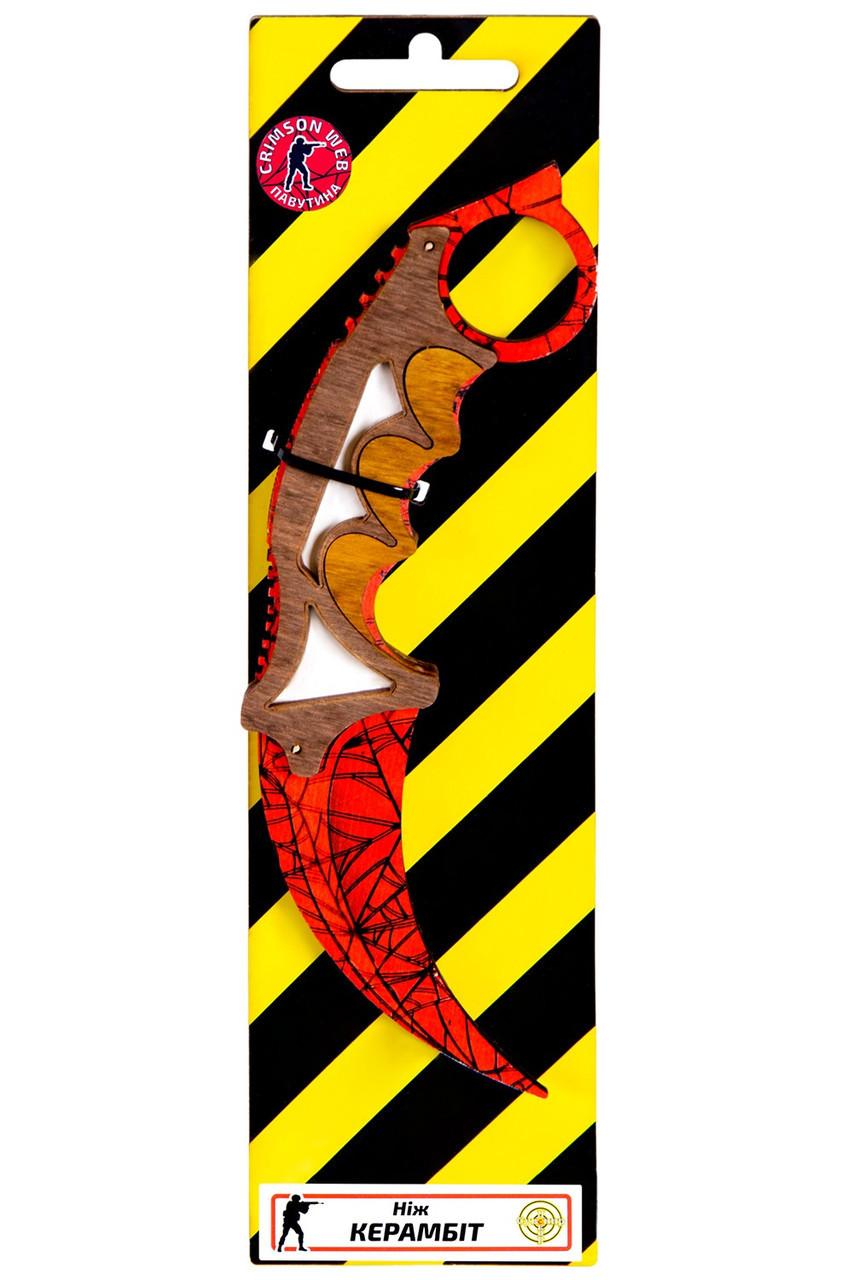 Деревянный нож керамбит из игры Counter Strike Красная паутина