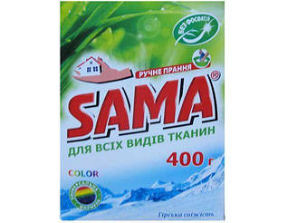Стиральный порошок SAMA ручной 400 без фосфатов Горная свежесть