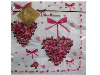 Салфетка (ЗЗхЗЗ, 20шт) Luxy  Сердце из роз (102) (1 пач)
