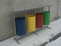Урны для раздельного сбора мусора Круглая на 4 ведра с навесом, фото 1